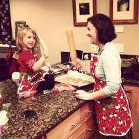 We made cookies in the matching aprons my mom made for us
