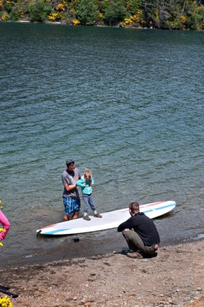 Especially when a fellow camper showed her the ropes on his paddle board.
