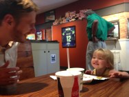 Claire and I got some fun bonding time during camps - lunches with Dad...