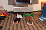 Evelyn decided to teach Ethan some bedtime yoga poses.