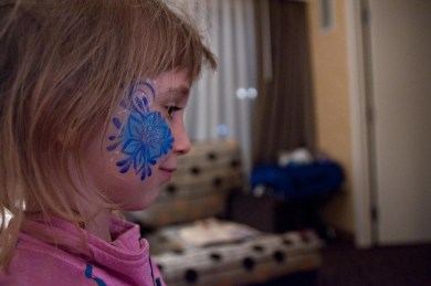 Evelyn got her face painted. It was gorgeous!