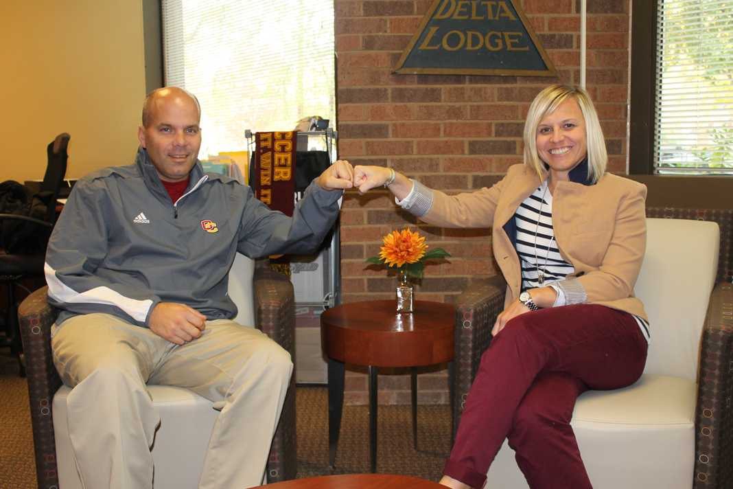 Creg Jantz (left), senior associate director of athletics, and Natalie Winkelfoos, director of athletics and Physical Education
