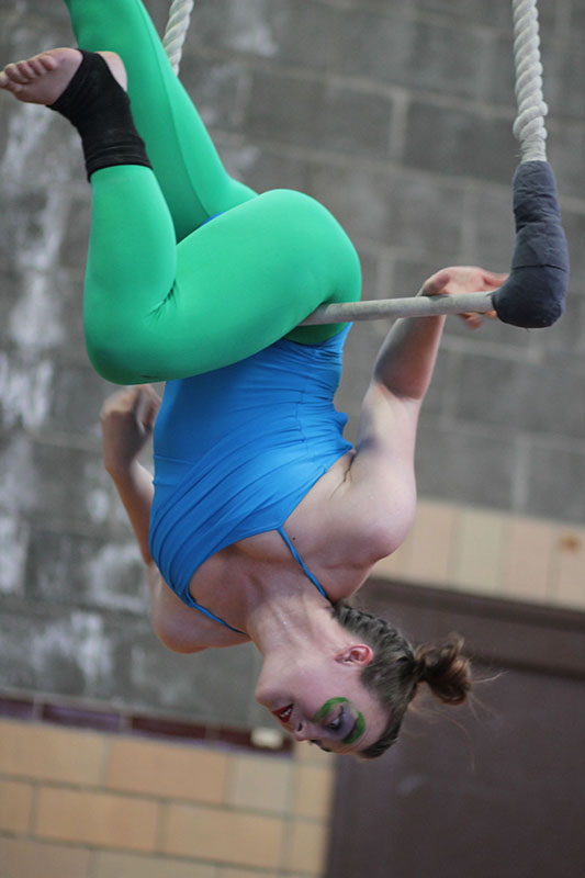 College+sophomore+Christy+Rose+performs+a+trick+on+the+single-point+trapeze+during+her+frog-themed+aerial+routine+during+last+Friday%E2%80%99s+Circus+Safari.+The+show%2C+sponsored+by+the+Oberlin+College+Aerialists%2C+featured+both+new+and+veteran+members+in+performances+that+drew+inspiration+from+jungle+animals.