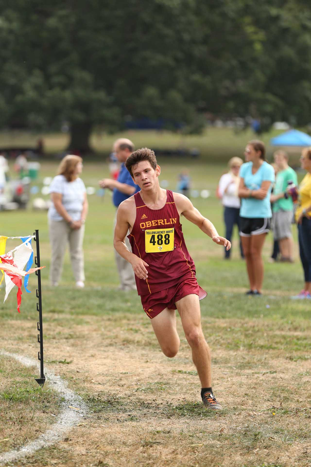 Sophomore Grant Sheely turns a corner in the University of Rochester Yellow Jacket Invitational Sept. 17. In the All-Ohio Championships on Sept. 30, the Dobbs Ferry, NY, native completed the trek in 26 minutes, 29.6 seconds for a 10th place Division-III finish.