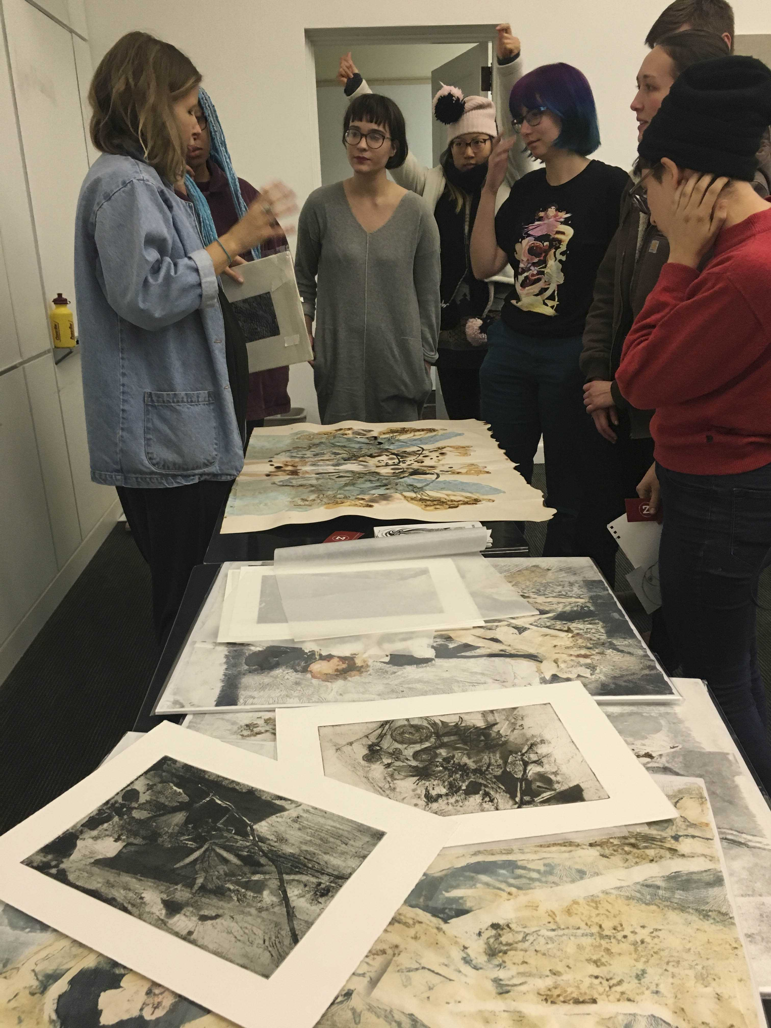 Cleveland-based studio artist Christi Birchfield visited Oberlin Wednesday to discuss her role as production manager at Zygote Press.