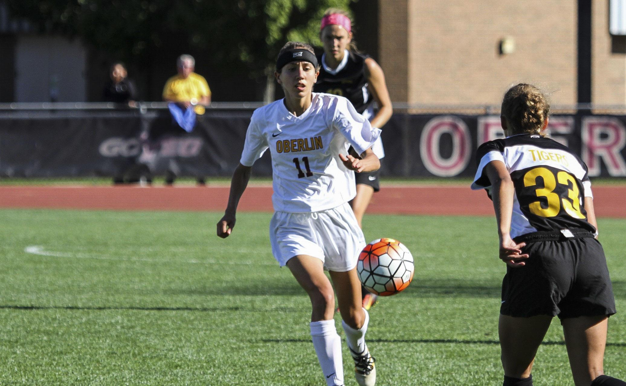 Senior midfielder Megan Herrmann settles a pass against DePauw University. After a 1–1 draw against The College of Wooster last Saturday, the Yeowomen are 5–3–1 overall.