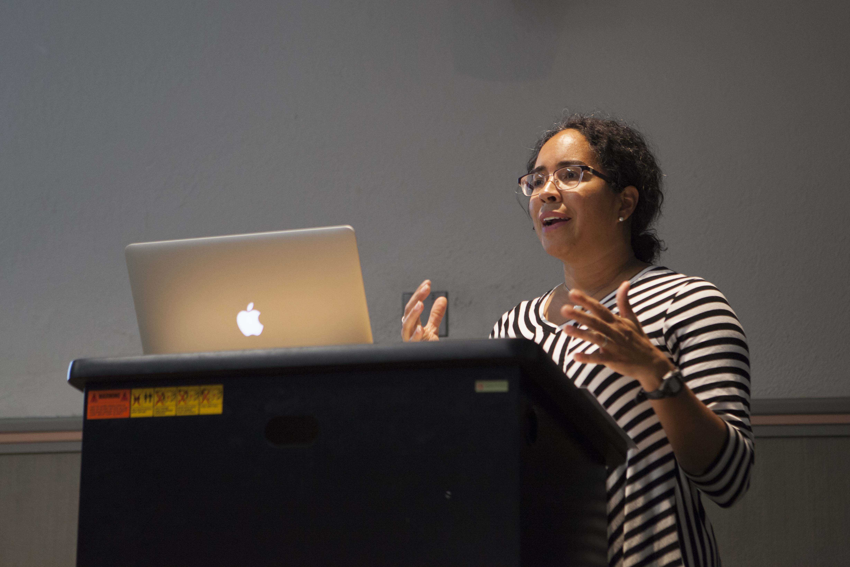 Comparative American Studies Professor Gina Pérez, participates in a teach-in Monday.