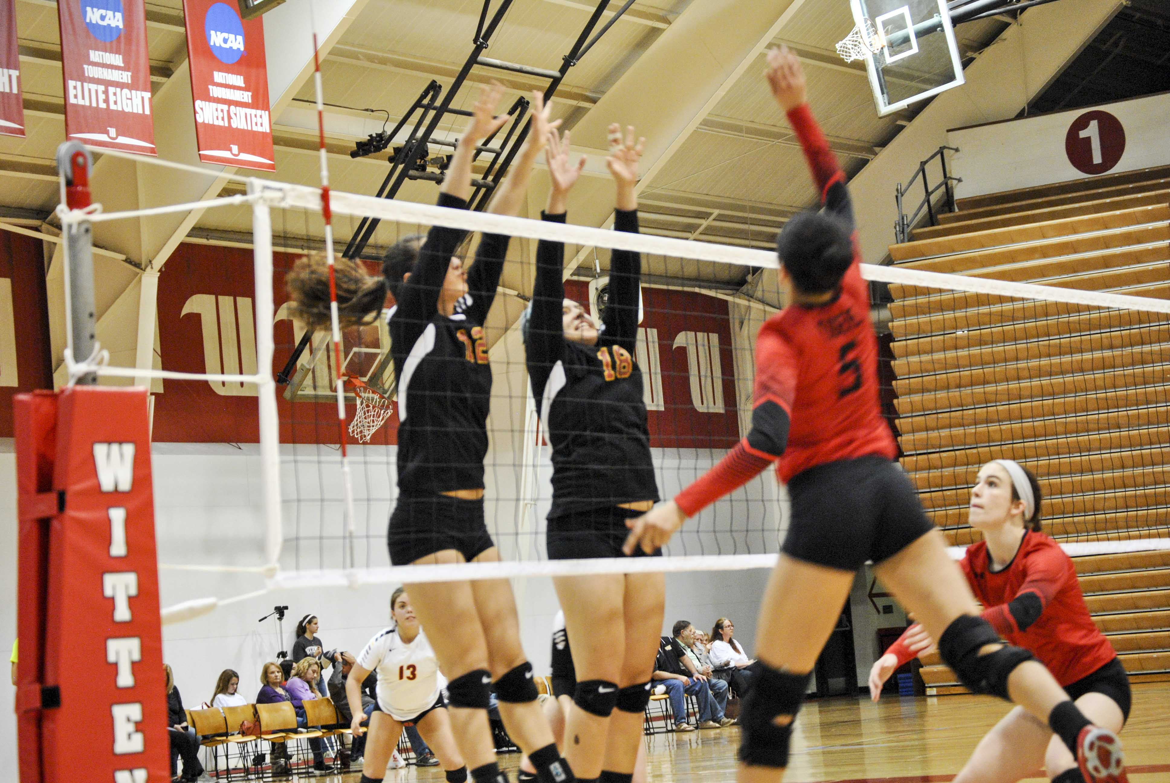 Sophomore Sara Chang (left) and senior Maggie Middleton jump for a block against the top-seeded Tigers in the first round of the North Coast Athletic Conference Tournament at Wittenberg University last Friday.