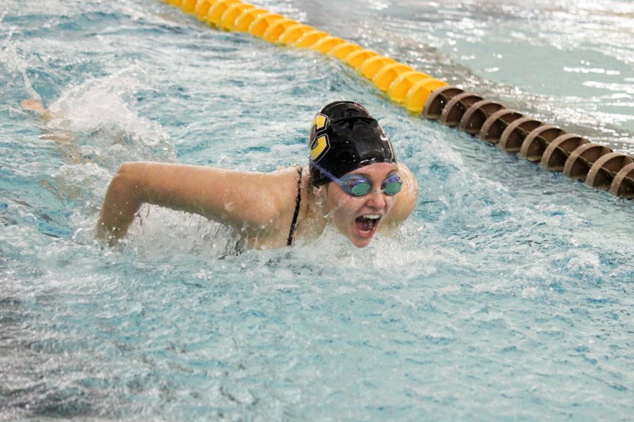 First-year+Paige+Davies+races+in+the+200-yard+butterfly.+The+swimming+and+diving+teams+begin+the+Fredonia+Invitational+in+Fredonia%2C+NY%2C+today.+