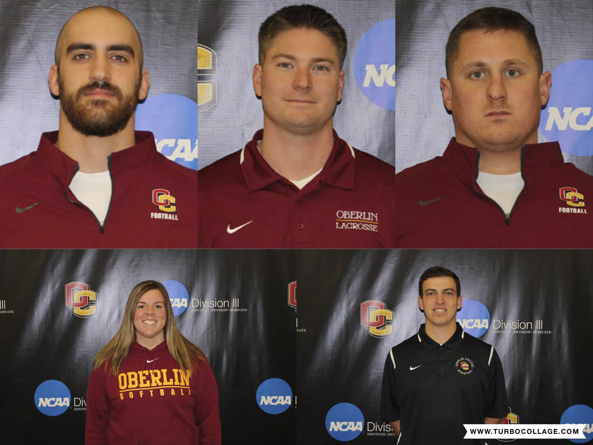 The Oberlin Athletics Department ushered in five new assistant coaches this January. Top row (left to right): Ben Gysin, Alec Chisholm and Garrett Mack. Bottom row (left to right): Olivia Wulfhoop and Brandon Jossey.