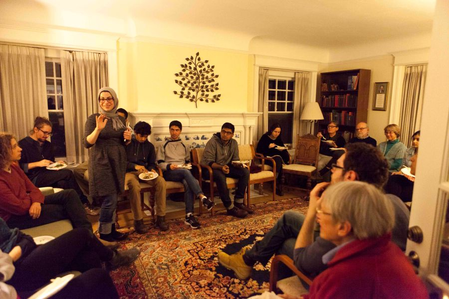 Muslim+Student+Association+Advisor+Maysan+Haydar+speaks+at+the+Office+of+Religion+and+Spiritual+Life+gathering+for+Oberlin%27s+Muslim+community+in+Lewis+House+Wednesday.+The+gathering+was+intended+to+provide+support+and+a+space+to+voice+concerns+and+ideas+about+protecting+vulnerable+Muslim+students%2C+faculty+and+staff.