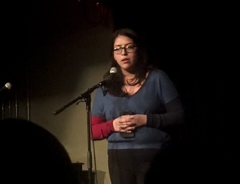 College junior and Obies for Undocumented Inclusion co-chair Zurisaday Gutierrez-Avila speaks at the Immigrant Narratives Open Mic at the Cat in the Cream last Friday.
