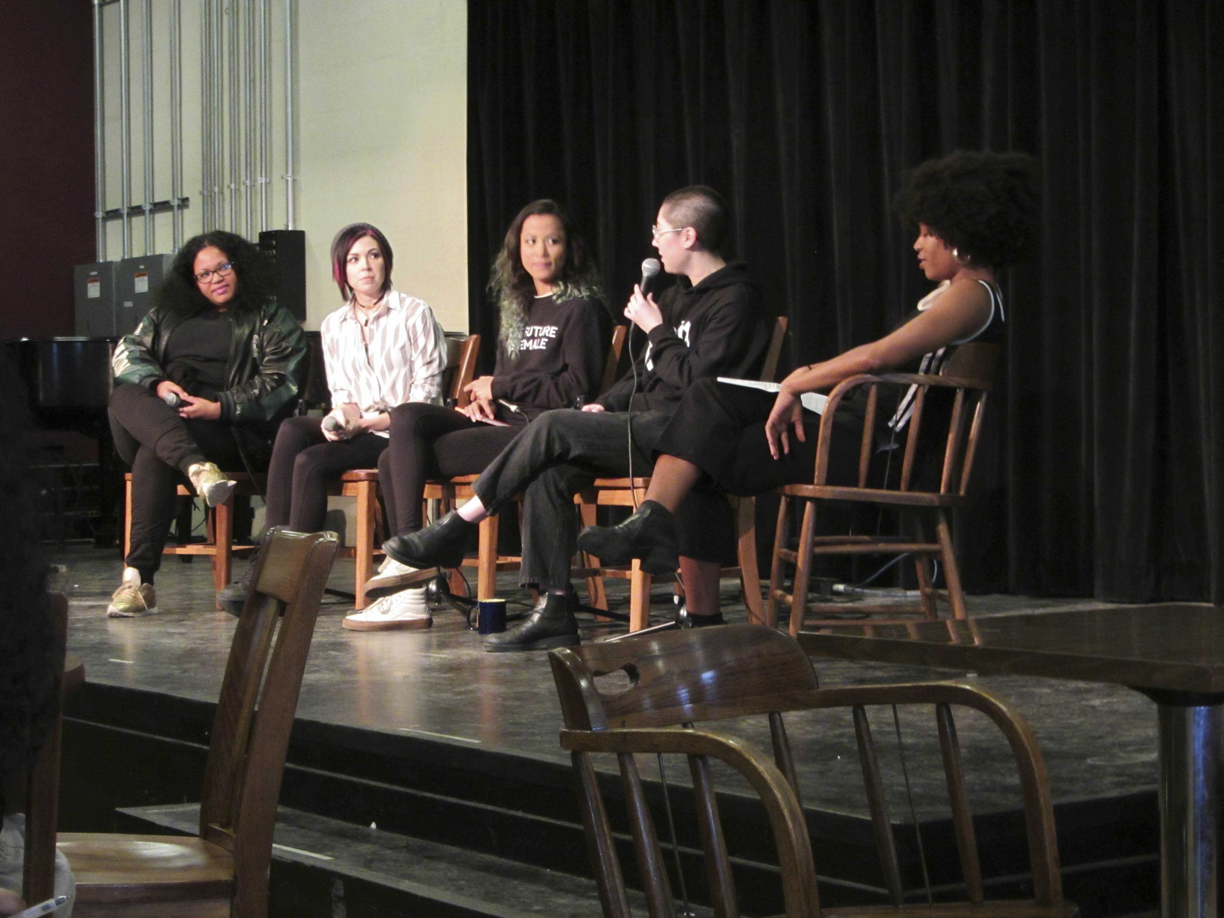 Panelists discuss diversity in predominantly white, male spaces in the music industry at an event hosted by campusbased group Femme Artists Breaking Boundaries Thursday afternoon.