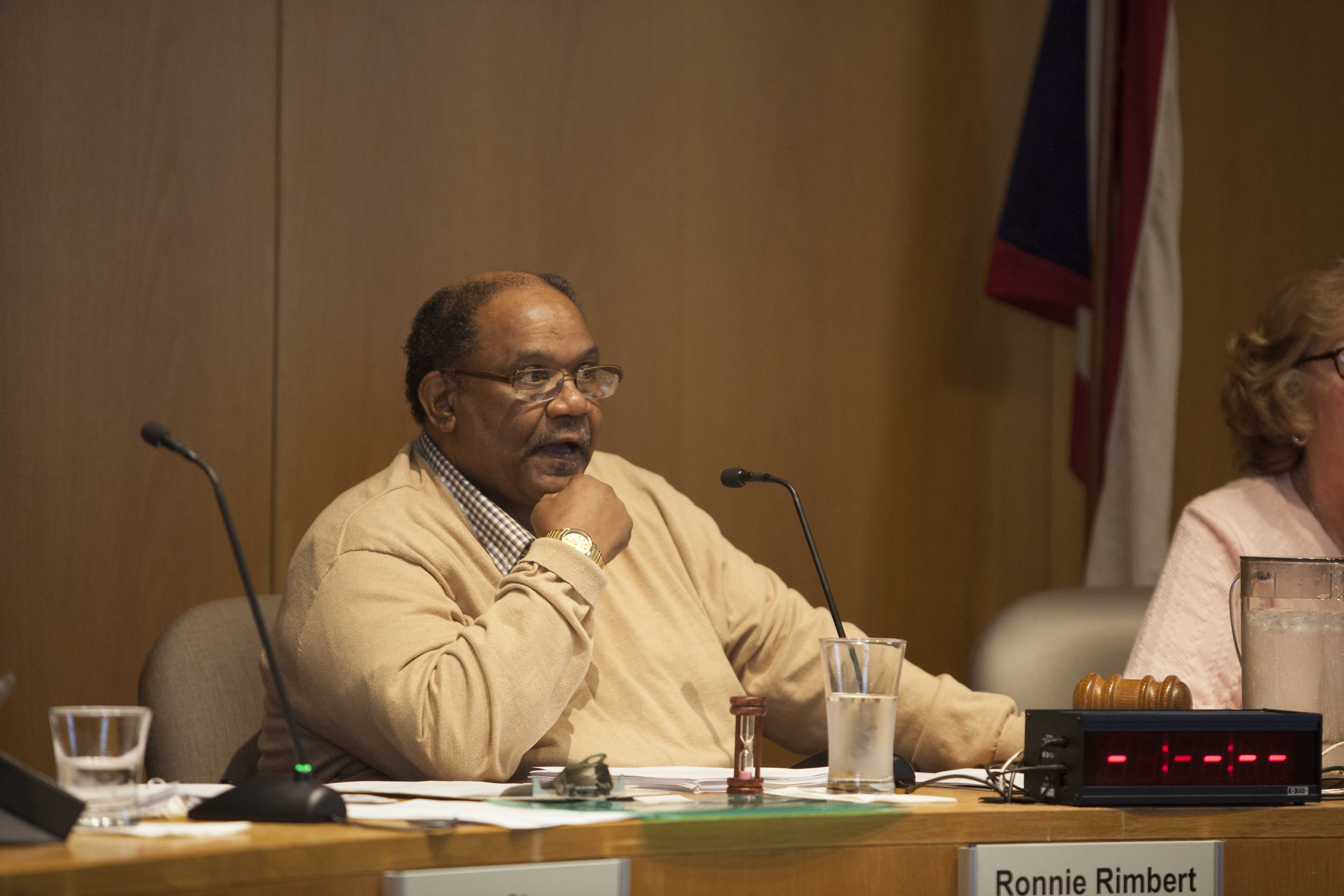City Council President Ronnie Rimbert speaks at Monday's City Council meeting. Council passed a resolution opposing Governor John Kasich's proposed 2017– 2018 budget, which proposes centralized collection of business income tax returns.