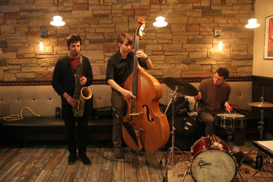 Conservatory+senior+Jared+Hochberg%2C+double-degree+sophomore+Ari+Smith+and+Conservatory+senior+Orion+Krause+perform+at+Jazz+Night+last+Saturday.
