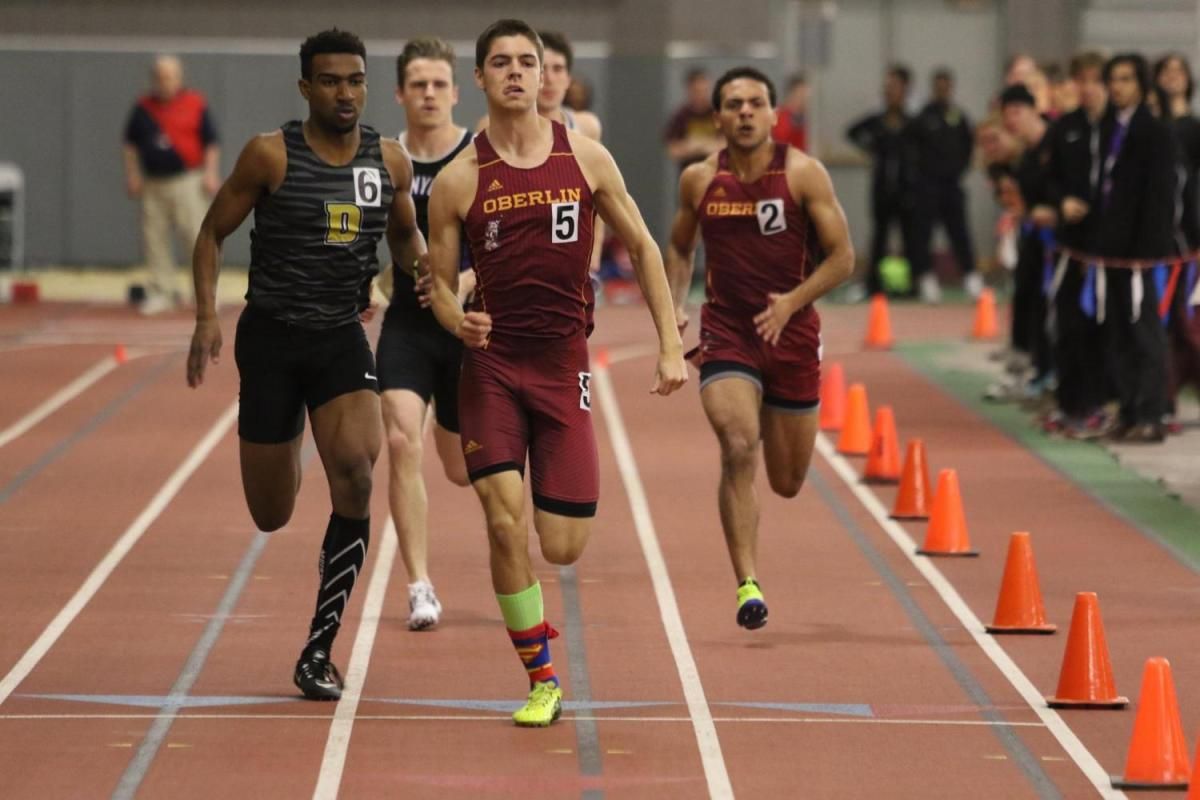 Junior+James+Tanford+sprints+through+the+finish+line+at+the+NCAC+Indoor+Championships+in+March.+The+track+and+field+teams+are+participating+in+the+NCAC+Outdoor+Championships+in+Greencastle%2C+IN%2C+today+and+tomorrow.+