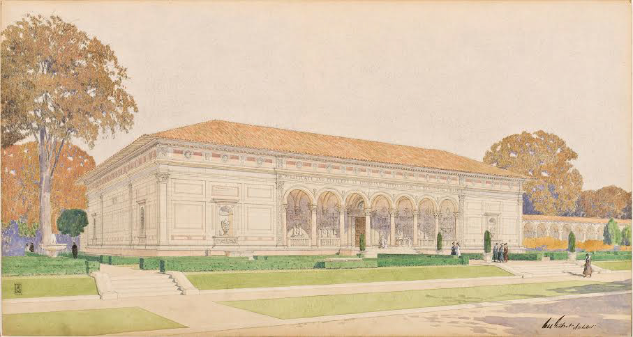 Architect Cass Gilbert's illustration of the exterior of the Allen Memorial Art Museum as it appeared in 1917. The museum celebrates its centennial this year.
