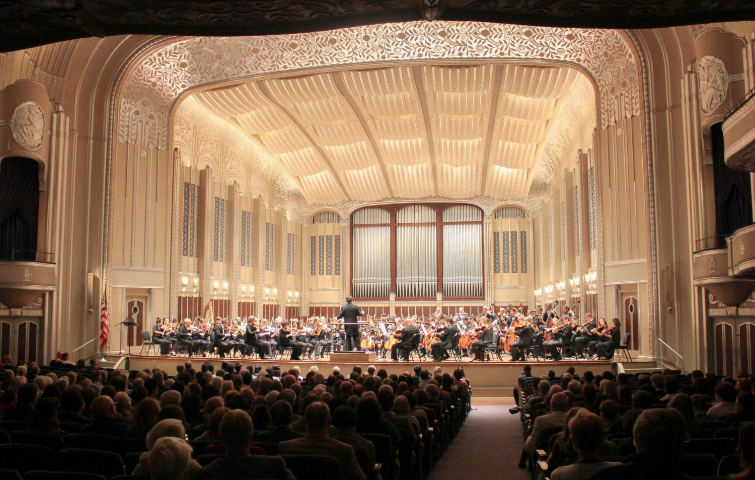 Oberlin Conservatory students and faculty members joined musicians from the Cleveland Orchestra, Cleveland Institute of Music, and Credo Music to play a benefit concert in Cleveland's Severance Hall to raise funds for hurricane relief.