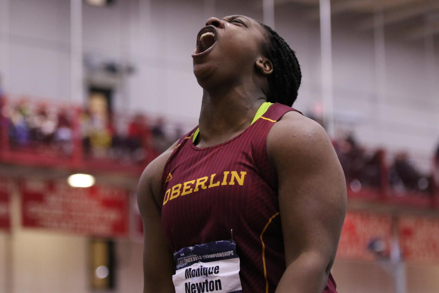 Monique Newton lets out a roar at last winter's NCAA Division III Indoor Championships. The track and field teams began their season Saturday at the Fifth-Annual Spartan Holiday Classic at Case Western Reserve University. Newton, who won the women's national championship last season, reclaimed her first-place status with two wins and earned NCAC Field Athlete of the Week.