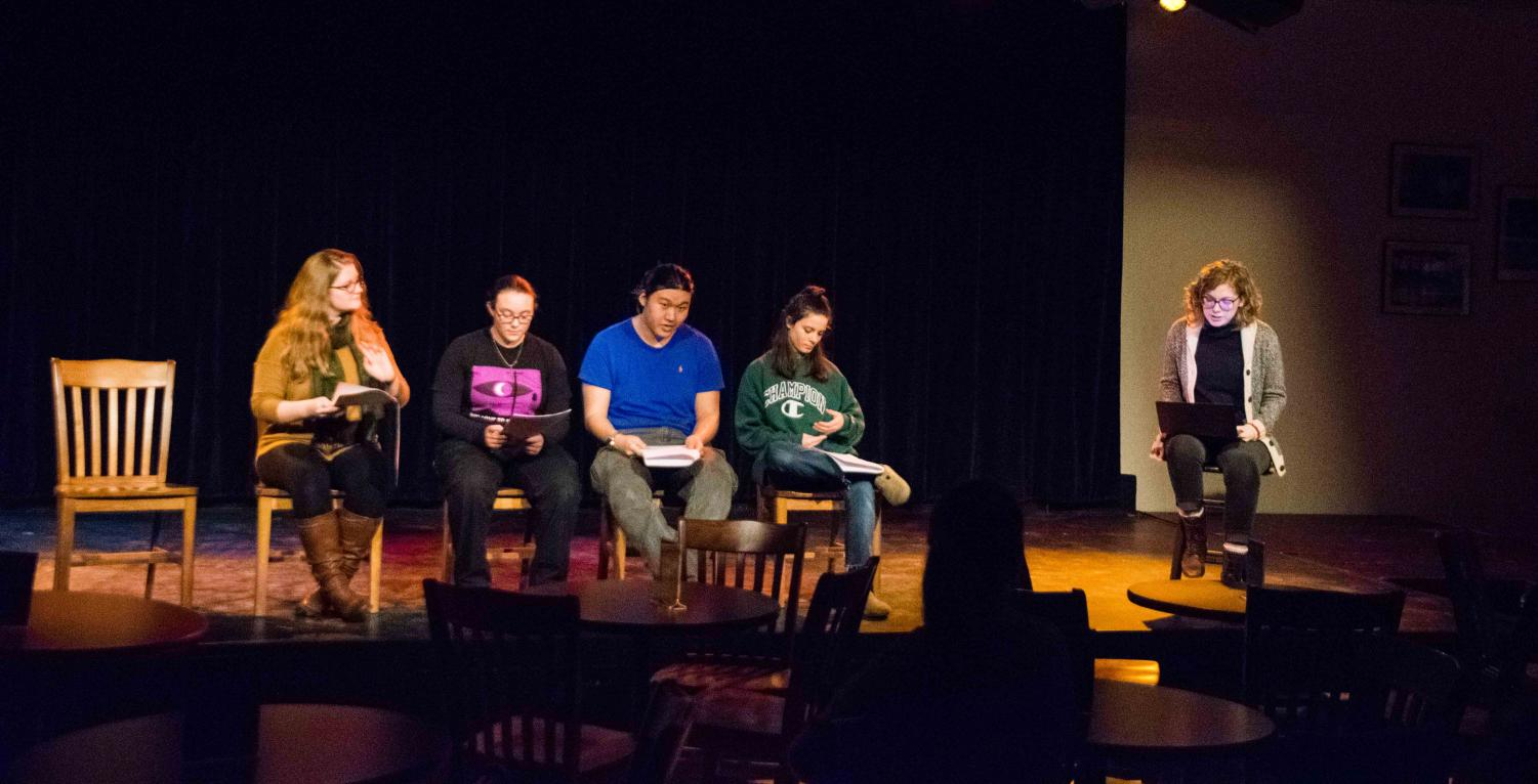 Students present scenes from original student plays written during Winter Term at the Cat in the Cream Sunday night.