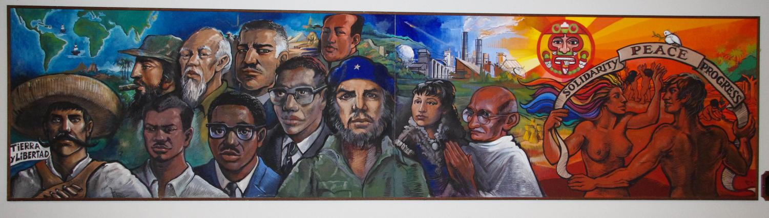 "Third World House's ""Solidarity, Peace, and Progress"" mural was painted in 1982 by Maria del Pilar O'Cadiz, OC '86, with her father, prominent Chicanx muralist Sergio O'Cadiz Moctezuma, for her first-year Winter Term project. Pilar O'Cadiz will return to Oberlin as the keynote speaker for Oberlin's Third World Liberation Conference tomorrow."