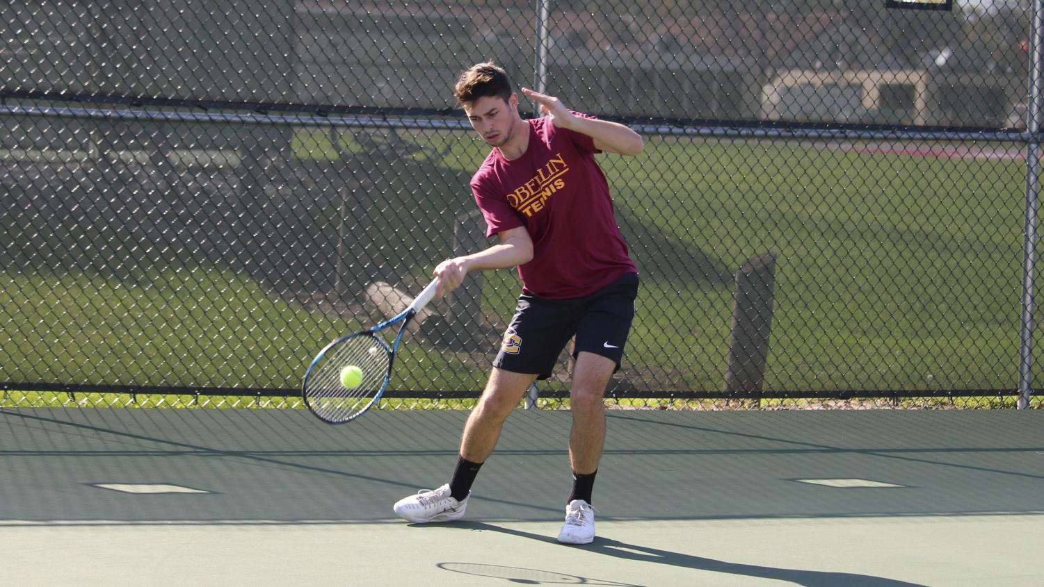 Sophomore Stephen Gruppuso had one of his best performances of the spring in the Yeomen's battle with the Ohio Wesleyan University Battling Bishops Sunday. Gruppuso and fellow sophomore Camron Cohen earned an 8–4 victory at No. 1 in doubles play.
