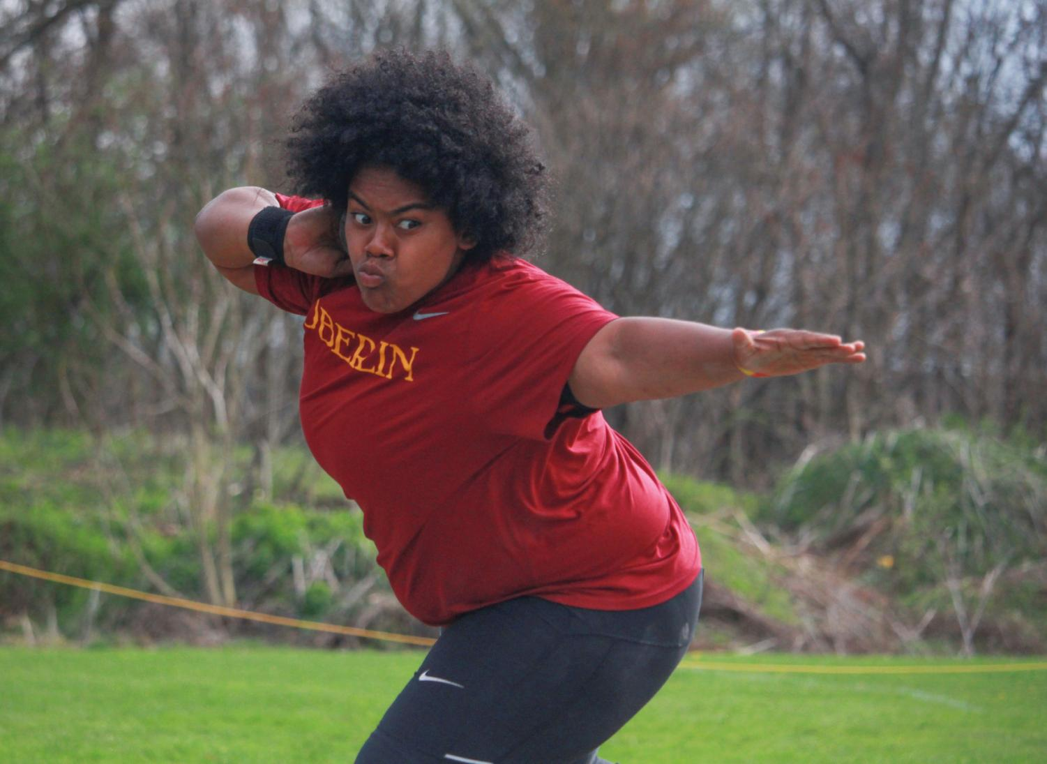 Junior All-American thrower Naeisha McClain.