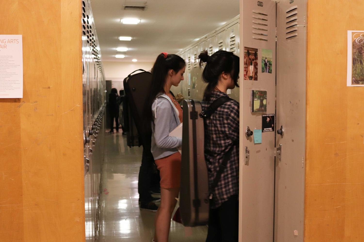 Conservatory students retrieve personal belongings from conservatory lockers.