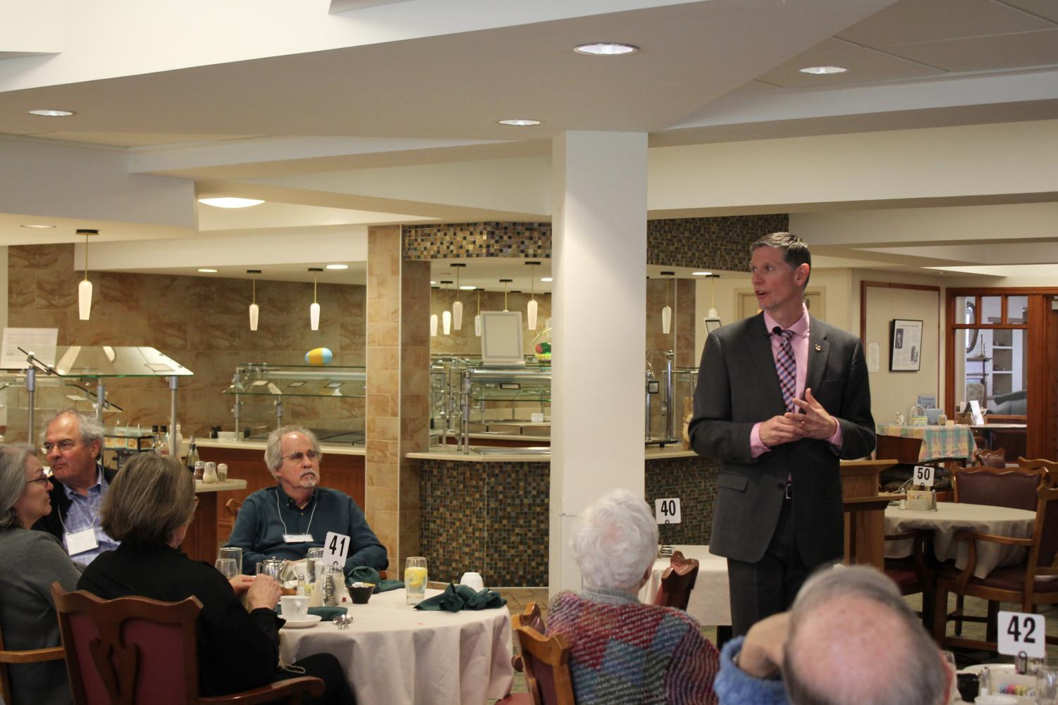 Kendal at Oberlin hosts the Oberlin Chapter of the League of Women Voters' monthly Legislative Luncheon, where Ohio State Representative Joe Miller discussed issues he dealt with in the opening months of his first term.