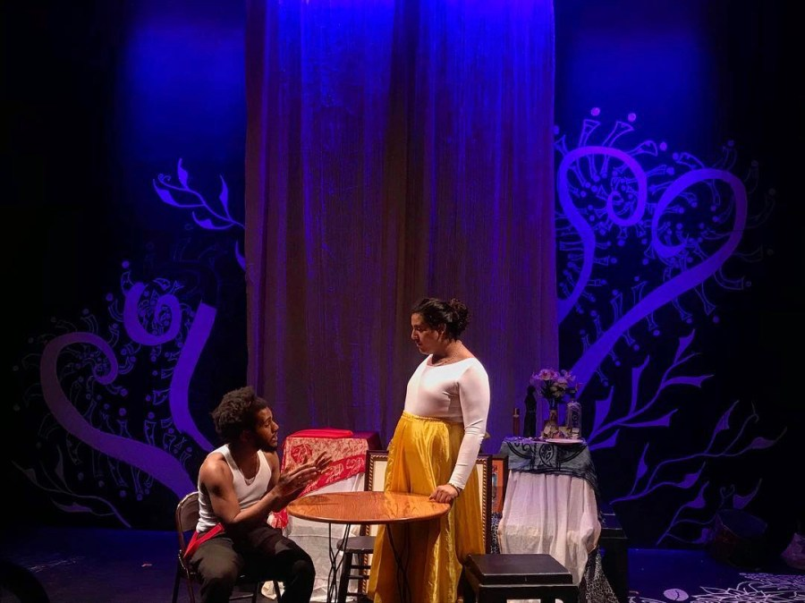 College+seniors+Elijah+Aladin+and+Nani+Borges+rehearse+Songs+from+my+Mother%E2%80%99s+Seashore+before+opening+night+Thursday.