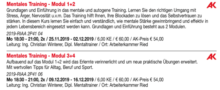 Mentalkurs VHS Ried Herbst 2019