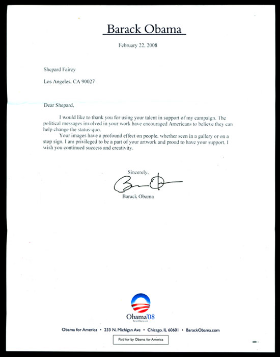 I got a thank you note from Barack Obama