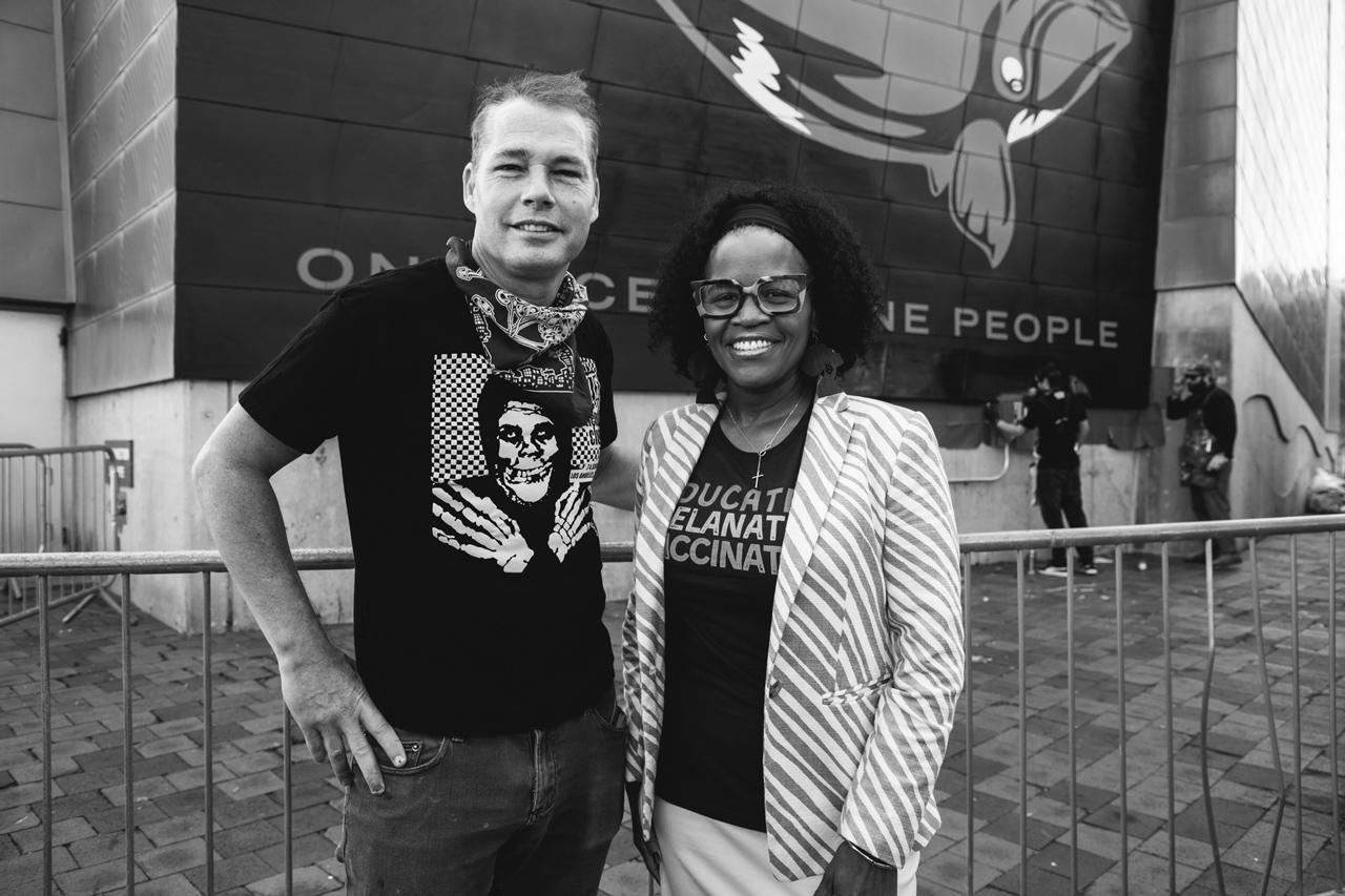 Photo of Shepard Fairey with Boston Mayor Kim Janey