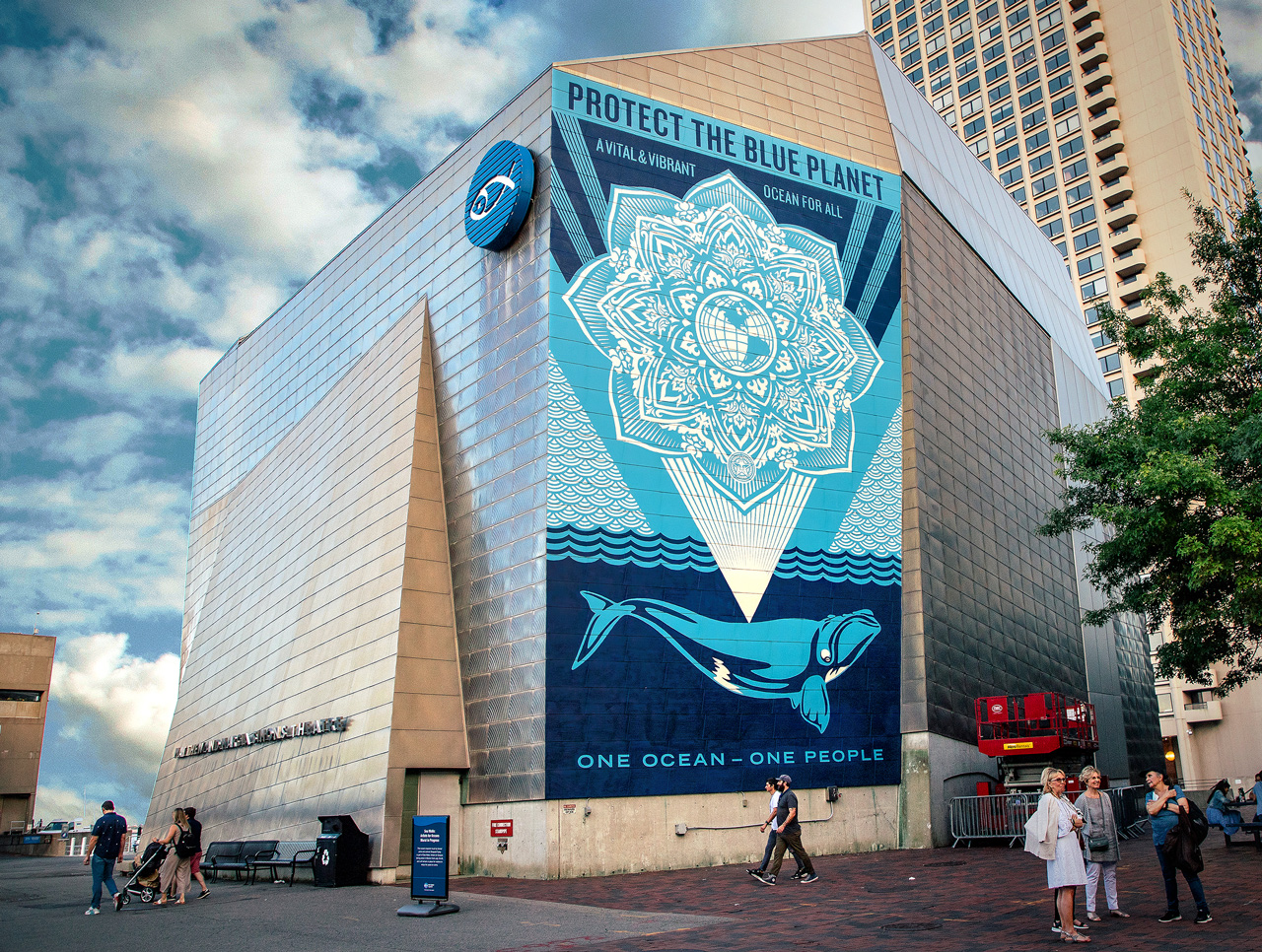Photo of mural by Shepard Fairey in Boston for Sea Walls.