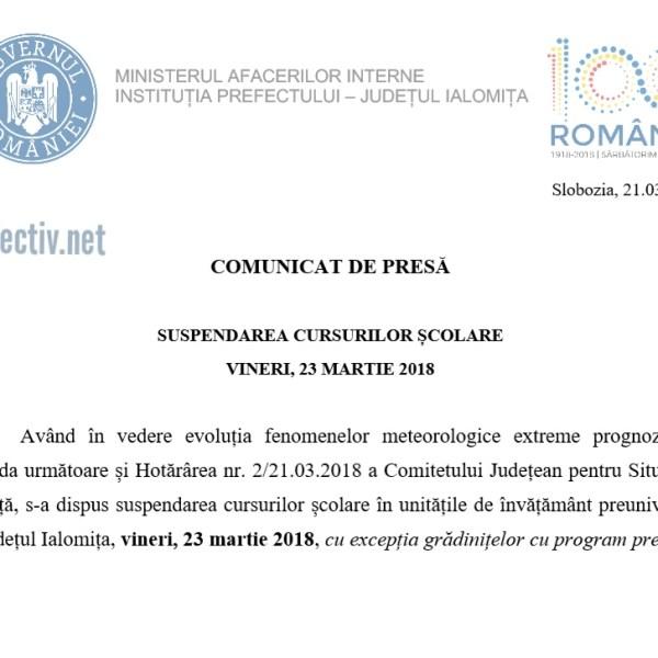 Ialomița: Documente oficiale privind suspendarea cursurilor