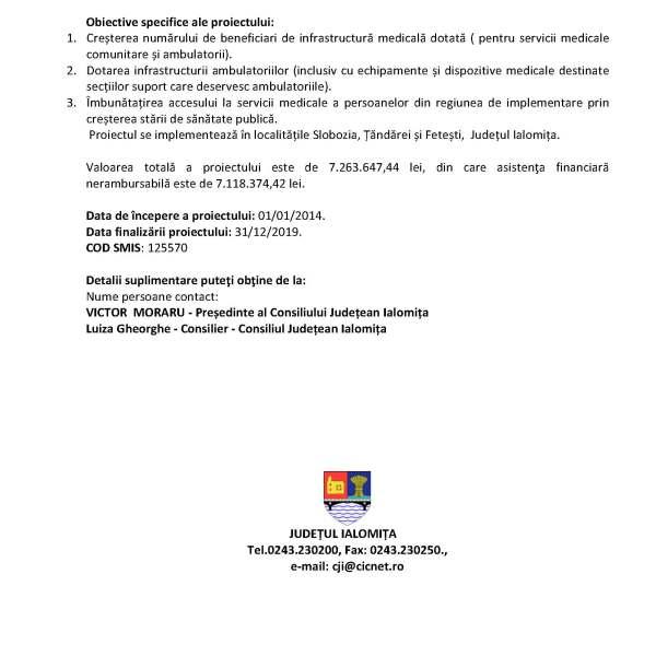 Asigurarea accesului la servicii de sănătate în regim ambulatoriu pentru populația județului Ialomița