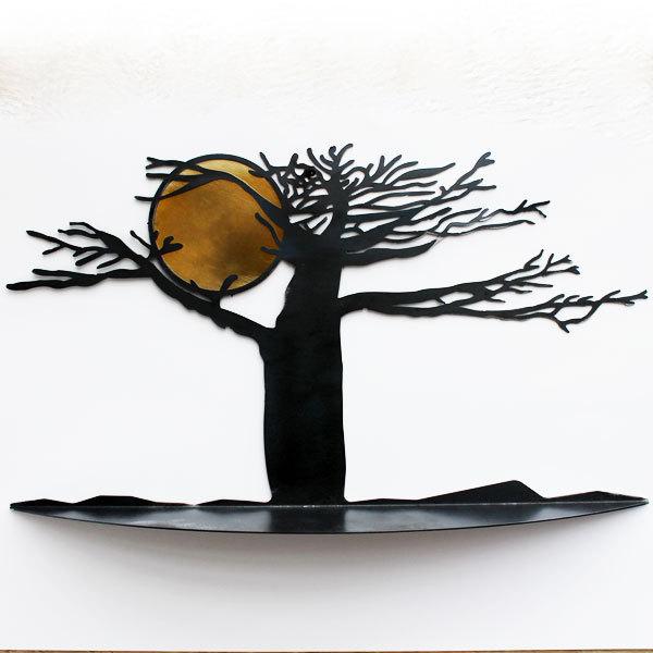 etagere murale arbre et soleil metal noir