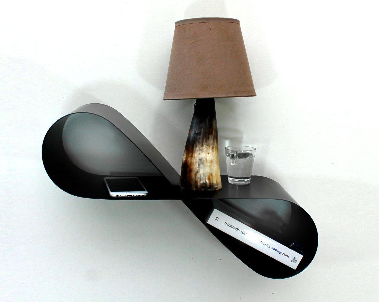 table de chevet murale noire mobius chevet suspendu gauche