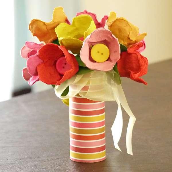 Idées récup boites d'oeuf Objectif IEF fleurs
