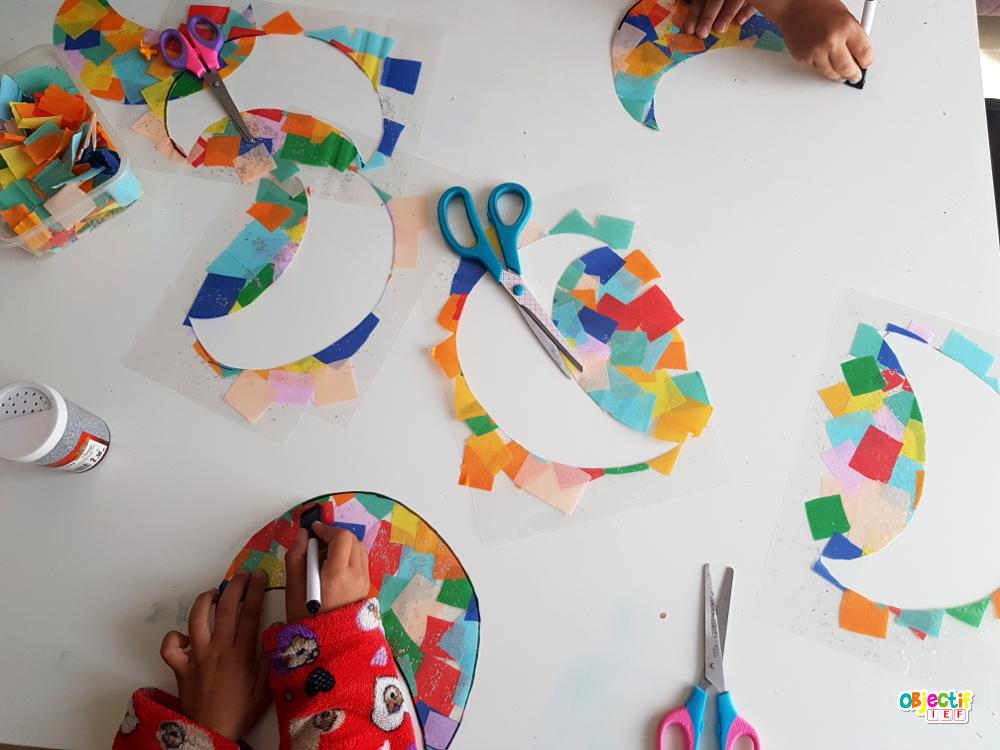 activité créative lune colorée papier crépon plastifieuse ramadan objectif ief