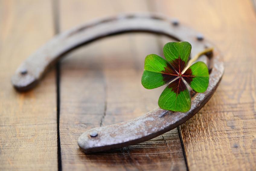 Fer à cheval et trèfles à 4 feuilles signes de la chance
