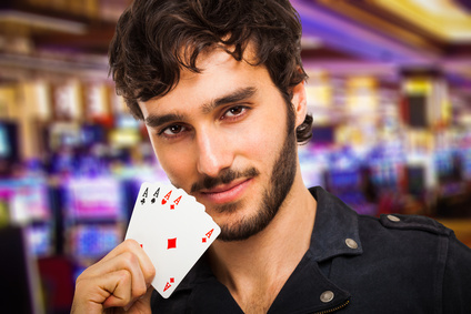Portrait of a poker player in a casino