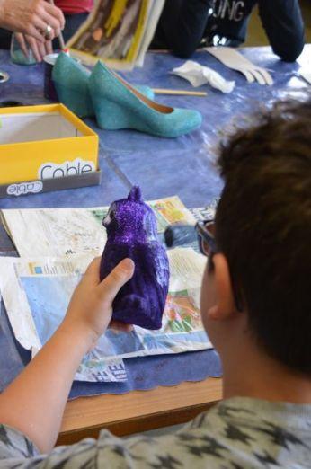 Antonino peint et paillette son hibou