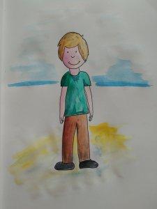enfant plage aquarelle