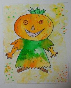 halloween citrouille aquarelle