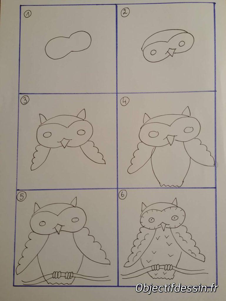 dessiner un hibou en 6 étapes
