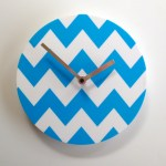 blue and white chevron clock