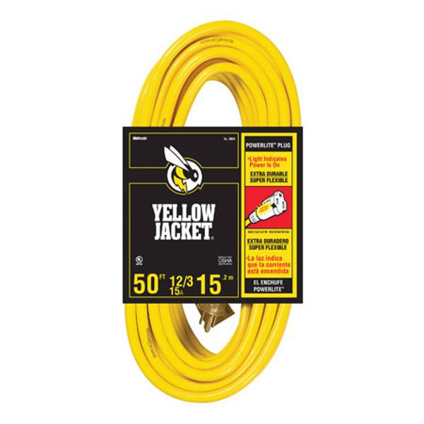 Contractors...if you are looking for an extension cord that can stand up to work site abuse, here it is! The Yellow Jacket 12 Gauge Power Cord. Its durability will save you money and keep your power tools connected. You're hired to get a job done and the Yellow Jacket 12 Gauge Power Cord is right by your side to give you the power you need to complete your job. Get yours today!