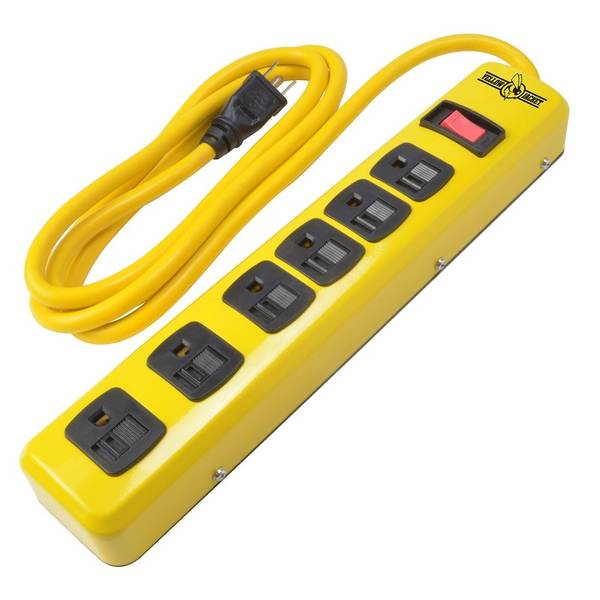 Ideal for garages and workshops, the Woods Yellow Jacket Metal Power Strip with 6-Foot Cord is made of heavy-duty metal to provide ultimate protection from overload. It offers six outlets with sliding shutters and 6-foot high visibility grounded power cord for easy plug-in.