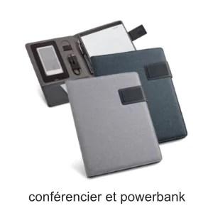 conférencier A4 A5 avec bloc et powerbank